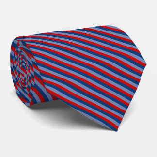 Blue Red Navy Blue Striped Pattern Tie