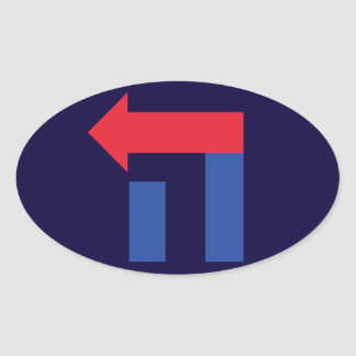 Blue Red Oval Hillary Hebrew sticker