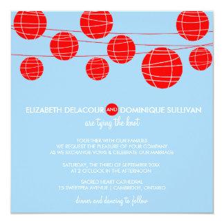 Blue & Red Paper Lanterns Wedding Invitation