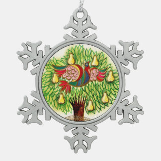 Blue Red Partridge in a Green Pear Tree Pewter Snowflake Ornament