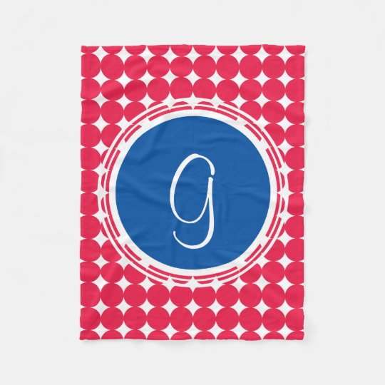 Blue & Red Polka Dot Monogram Fleece Blanket