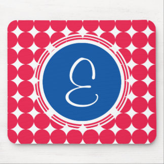 Blue & Red Polka Dot Monogram Mouse Pad