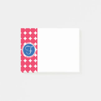 Blue & Red Polka Dot Monogram Post-it Notes