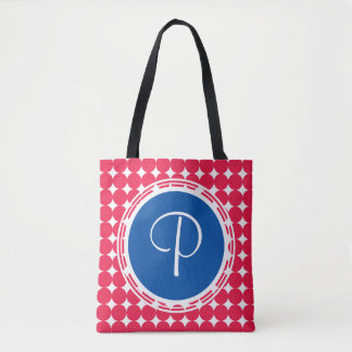 Blue & Red Polka Dot Monogram Tote Bag