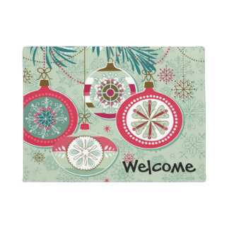 Blue & Red Retro Christmas Ornaments Doormat