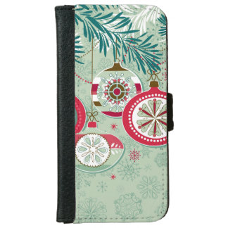Blue & Red Retro Christmas Ornaments iPhone 6 Wallet Case