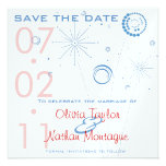 Blue & Red Save The Date Fireworks Announcement