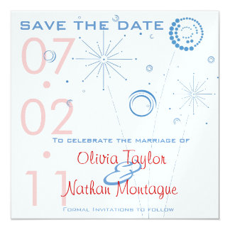 Blue & Red Save The Date Fireworks Card