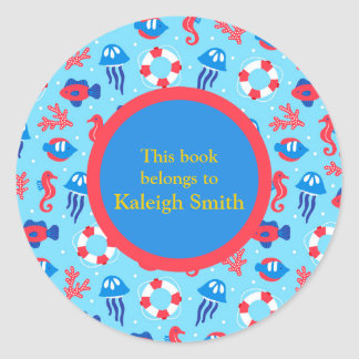 Blue Red Seahorses and Jellyfish Book Name Plate Classic Round Sticker