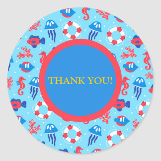 Blue Red Seahorses and Jellyfish Thank You Sticker