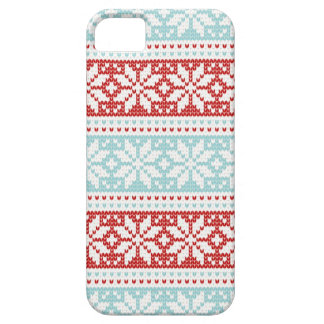 Blue Red Snowflakes Christmas Knit Pattern Case For The iPhone 5