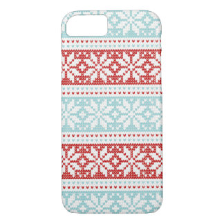 Blue Red Snowflakes Christmas Knit Pattern iPhone 7 Case
