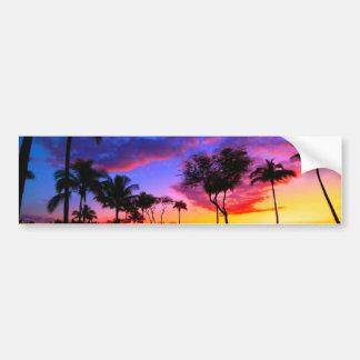 Blue Red Sunset Exotic Hawaiian Beach Palm Trees Bumper Sticker