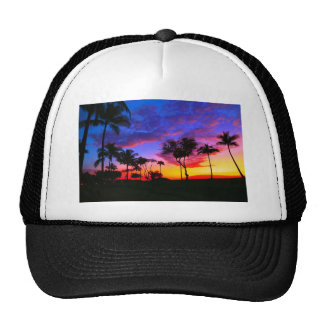 Blue Red Sunset Exotic Hawaiian Beach Palm Trees Trucker Hat