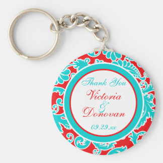 Blue Red White Damask Wedding Favor Keychain