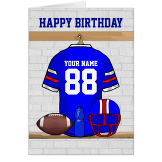 Blue Red White Football Jersey Happy Birthday Note Card