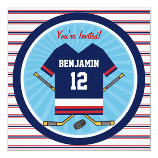 """Blue Red White Ice Hockey Jersey Birthday Party 5.25"""" Square Invitation Card"""