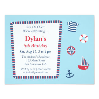 Blue Red White Nautical Theme Birthday Party Personalized Invitation