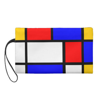 Blue red yellow Mondrian Wristlet Clutches