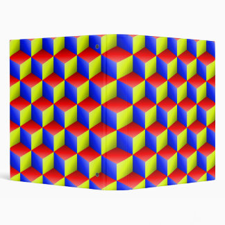 Blue Red Yellow Shaded 3D Look Cubes Binders