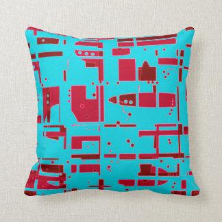 Blue Reds Retro 50s Design Pillow