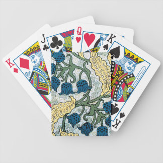 Blue Repeating Floral Pattern Bicycle Playing Cards