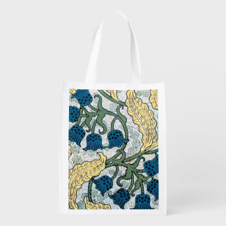 Blue Repeating Floral Pattern Reusable Grocery Bag