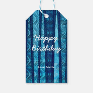 Blue Retro Beach Waves Vintage Abstract Gift Tag