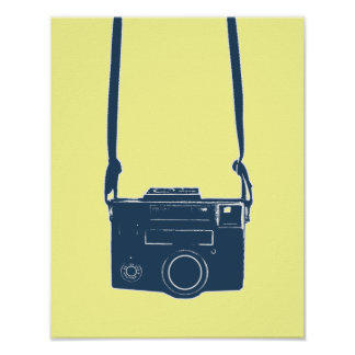 Blue Retro Film Camera Poster