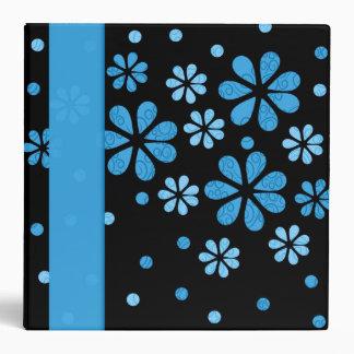 Blue Retro Flowers Dots 2 inch Designer Vinyl Binder
