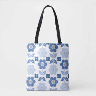 Blue Retro Flowers & Polka All-Over-Print Tote Bag