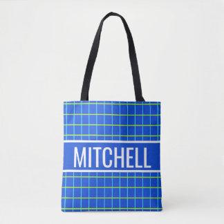 Blue Retro Grid Personalized Tote Bag