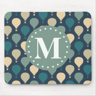Blue Retro Hot Air Balloon Pattern Monogram Mouse Pad
