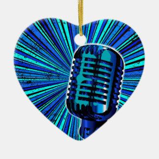 Blue Retro Microphone Ceramic Ornament