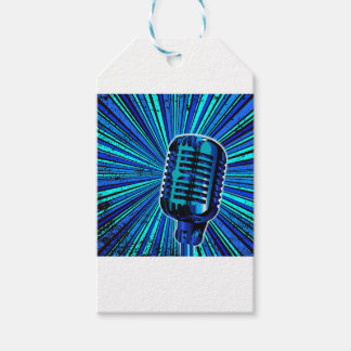 Blue Retro Microphone Gift Tags