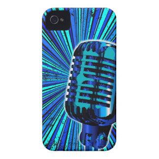 Blue Retro Microphone iPhone 4 Case-Mate Case