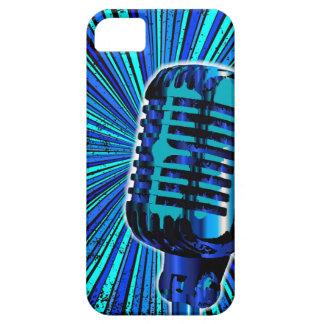 Blue Retro Microphone iPhone 5 Case