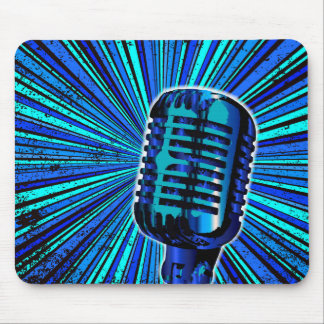 Blue Retro Microphone Mouse Pad