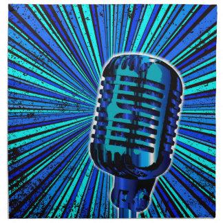 Blue Retro Microphone Napkin