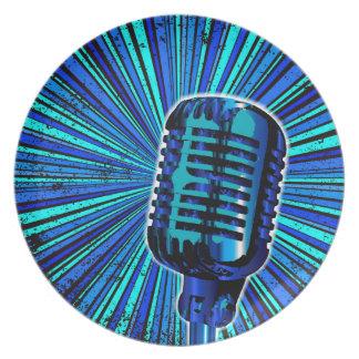 Blue Retro Microphone Plate