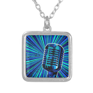 Blue Retro Microphone Silver Plated Necklace
