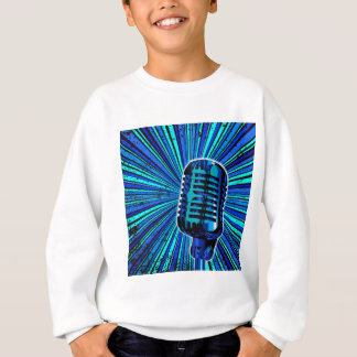 Blue Retro Microphone Sweatshirt