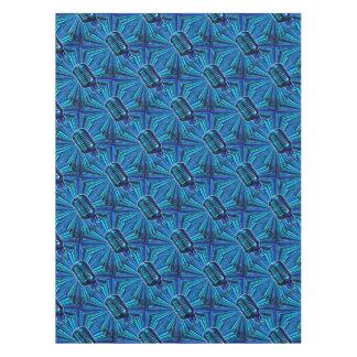 Blue Retro Microphone Tablecloth