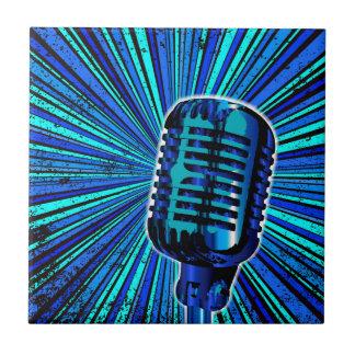 Blue Retro Microphone Tile