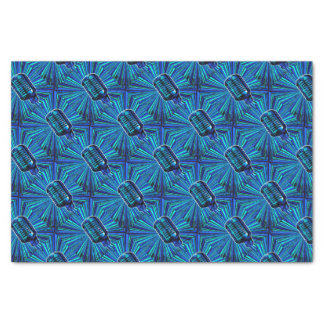 Blue Retro Microphone Tissue Paper