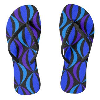 Blue  Retro Pattern Flip Flops