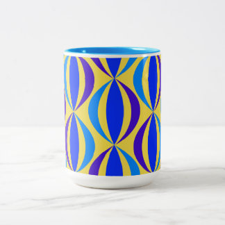 Blue Retro Pattern Two-Tone Coffee Mug