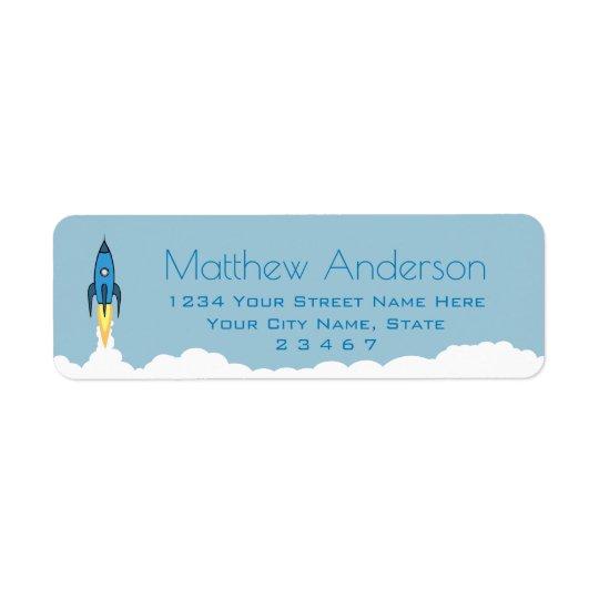Blue Retro Rocket Ship Personalized Name Kids Boy