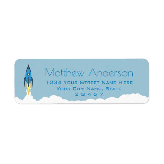 Blue Retro Rocket Ship Personalized Name Kids Boy Return Address Label