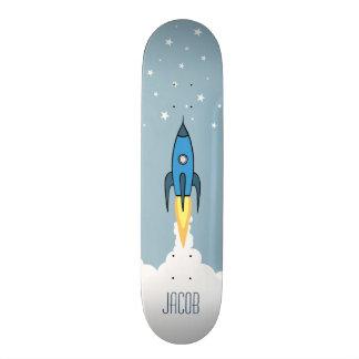 Blue Retro Rocket Ship Stars Personalized Monogram Skate Deck